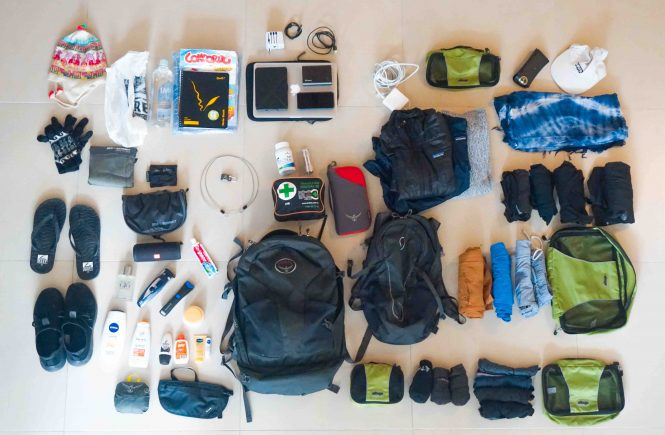 Top view of travel gear laid out