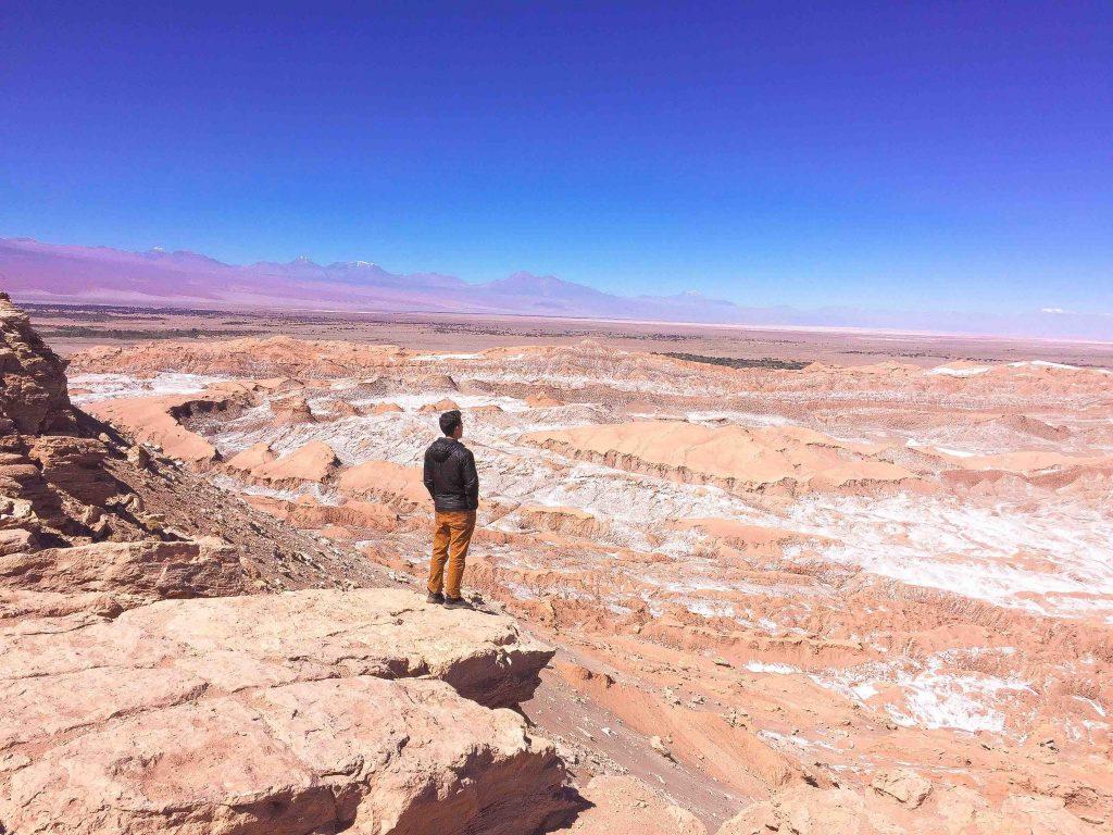 Looking out over the incredible landscape at 'Valle de la Luna' in the San Pedro de Atacama Desert in Chile.