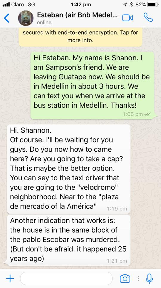 Screenshot of Whatsapp Coversation with Airbnb host about Pablo Escobar